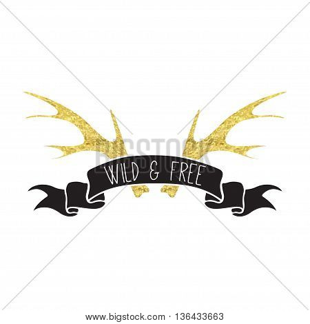 Vector illustration of boho logo. Bohemian logo with antlers. Black and gold color. Isolated on white background. Hand drawn.