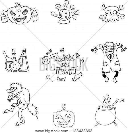 Doodle of Halloween monster and element illustration