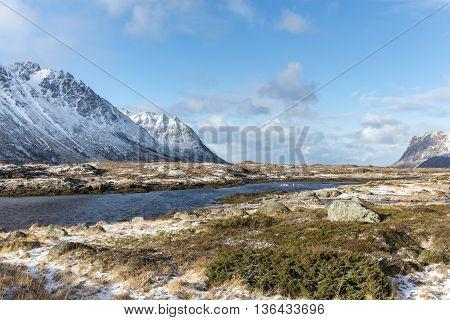 Winter landscape of Lofoten Islands North Norway Norway