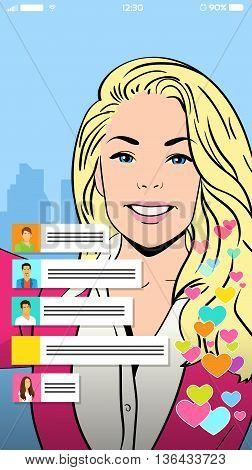 Blonde Girl Video Blogger Profile Icon Vector Illustration