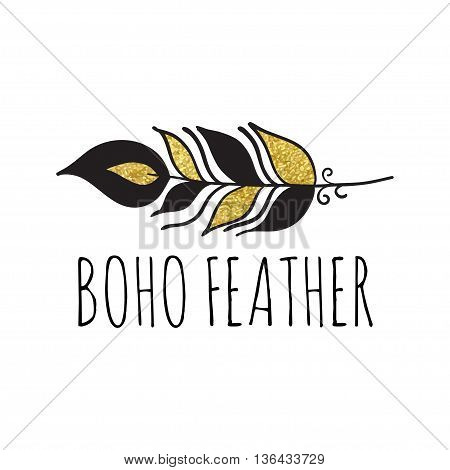 Vector illustration of boho logo. Bohemian logo with feather. Black and gold color. Isolated on white background. Hand drawn.