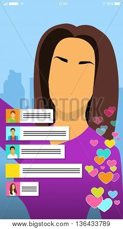 Girl Video Blogger Streaming Live View, Woman Online Blog Smart Phone Self Stream Service Vector Illustration