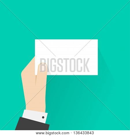 Business man hand holding card mockup template vector illustration, showing blank calling card, empty visiting card, small paper sheet frame, flat sign design isolated on green
