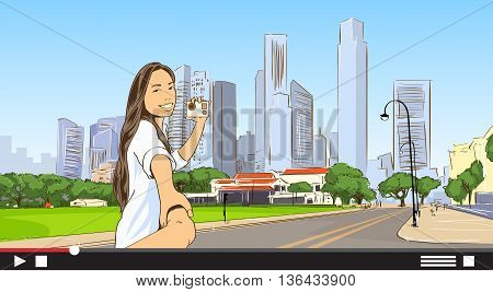 Asian Girl Video Blogger Modern City Streaming Live View, Woman Online Blog Smart Phone Self Stream Vector Illustration