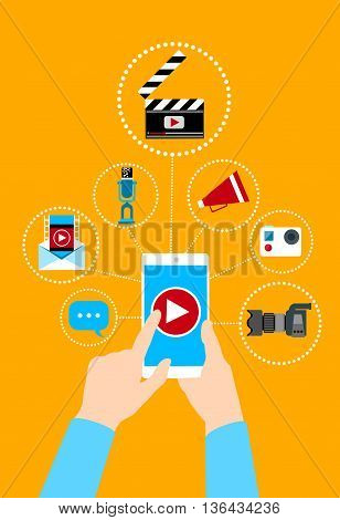 Hand Hold Cell Smart Phone Video Blog Concept Flat Vector Illustration