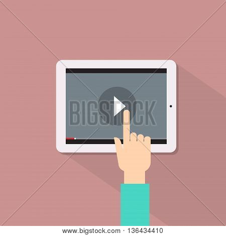 Video Player Hand Touch Screen Play Button Tablet Computer Flat Vector Illustration