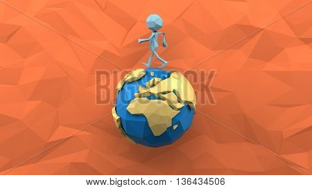 Paper man walking around the earth