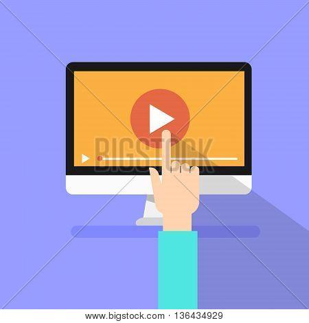 Video Player Hand Touch Screen Play Button Desktop Computer Flat Vector Illustration