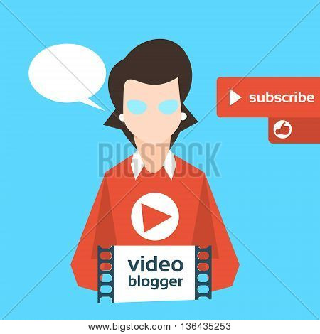 Woman Blogger Video Blog Concept Flat Vector Illustration