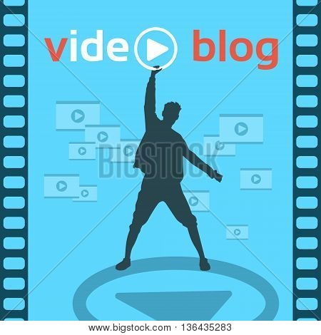 Silhouette Man Blogger Video Blog Concept Flat Vector Illustration