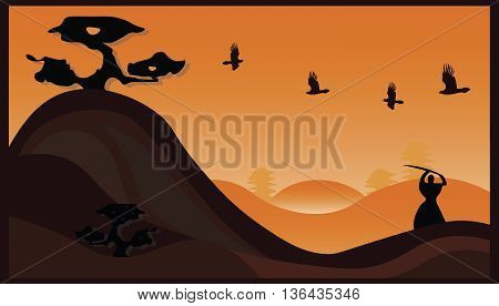 Japanese samurai illustration representing a samurai fighting at sunset. Vector