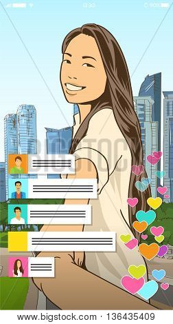 Asian Girl Video Blogger Profile Icon Vector Illustration