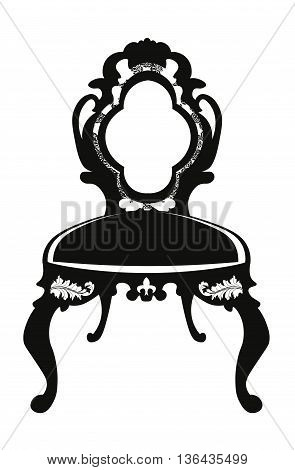 Baroque style chair with rich ornaments in black. Vector sketch
