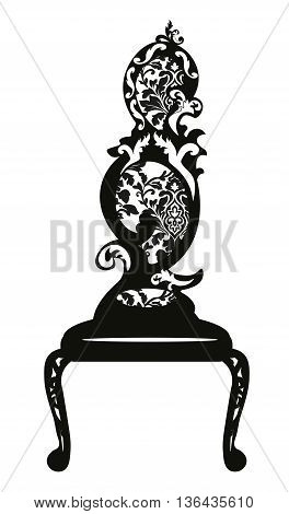 Baroque style chair with original shape rich ornaments in black. Vector sketch