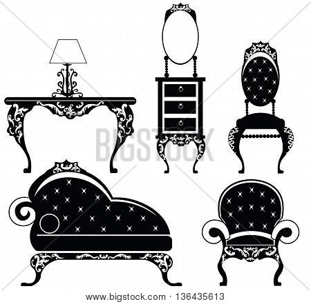 Baroque style furniture set with rich ornaments in black. Vector sketch