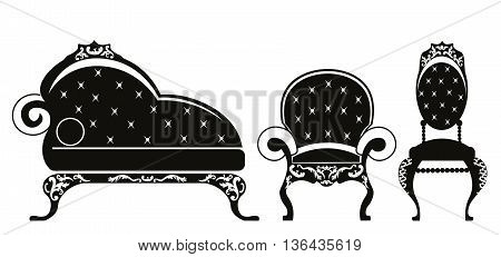 Baroque style furniture for children room with rich ornaments in black. Vector sketch