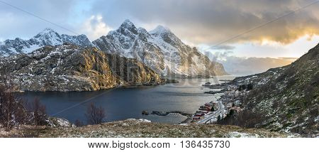 Panorama of mystic evening landscape on Lofoten islands Norway