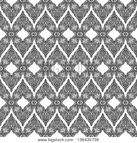 Seamless Pattern with Elements of Doodle Feather on White Background