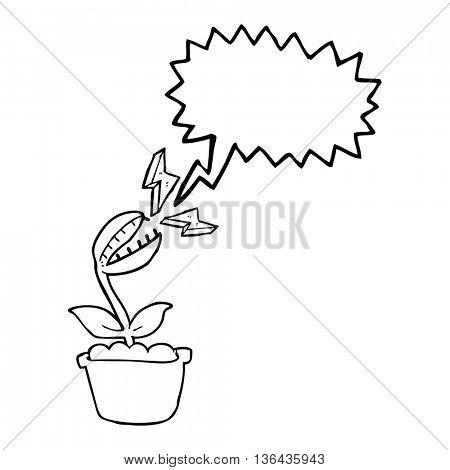 freehand drawn speech bubble cartoon venus fly trap