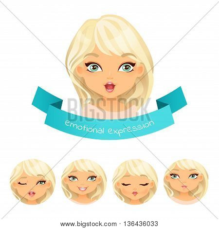 Cute Blue Eyed Blonde With Different Facial Expressions. Set Of Different Emotion: Smile, Laugh, Sur