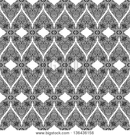Seamless Black Pattern with Elements of Doodle Feather on White