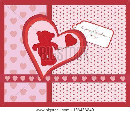 Happy Valentine's Day invitation card. Love hearts and bear. Vector