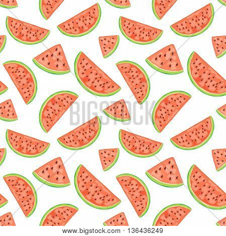 Seamless wallpaper with red juicy watermelon, slices ripe fruit on white background, illustration.