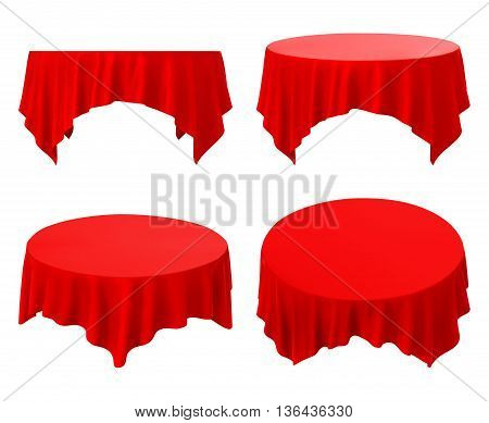 red tablecloth set isolated on a white background.  vector illustration.