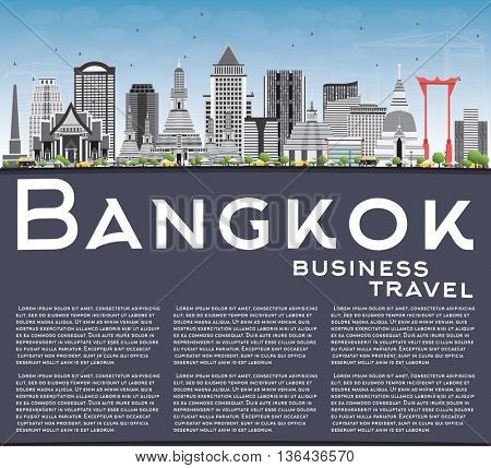 Bangkok Skyline with Gray Landmarks, Blue Sky and Copy Space. Business Travel and Tourism Concept with Bangkok City. Image for Presentation Banner Placard and Web Site.