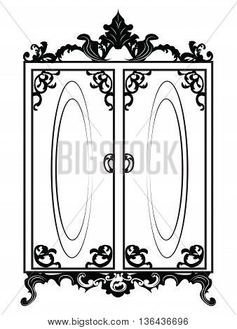 Vintage Baroque Rich Wardrobe with luxurious ornaments. Vector