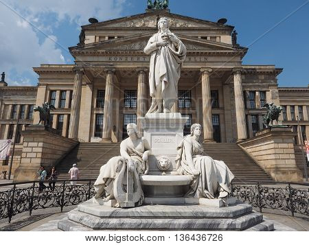 Schiller Statue In Front Of Konzerthaus In Berlin