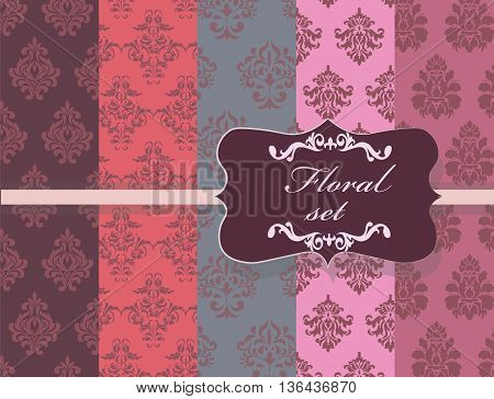 Vintage Floral ornament damask patterns collection. Elegant luxury textures for backgrounds and invitation cards. Pink shades and blue colors. Vector