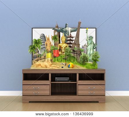 Concept of travel. Popular attractions of the world protruding from the screen of TV on the wooden table. Room interior. 3d illustration