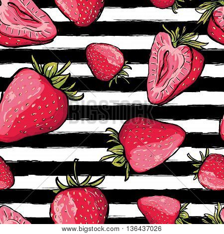 Vector summer seamless pattern. Red strawberries on black and white watercolor striped background. Hand drawn juicy berries background. Design for fabric textile print wrapping paper or web.