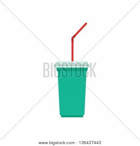 Paper cup template for soda or cold beverage with drinking straw isolated on white background. Packaging collection. Vector illustration.