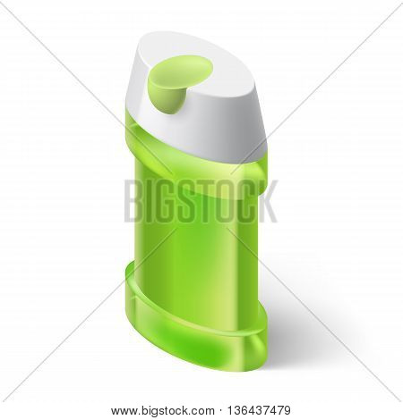 Shampoo Green Icon in Isometric Style on White