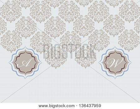Vector card ornamental floral elements. Elegant decoration greeting card wedding invitation or announcement template. Opal blue
