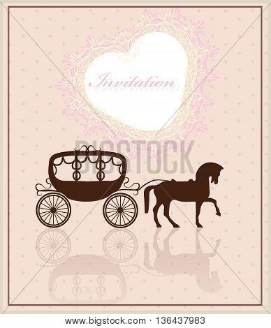Lace crochet heart shape Invitation card. Shabby chic vintage style. Rose quartz color. Vector