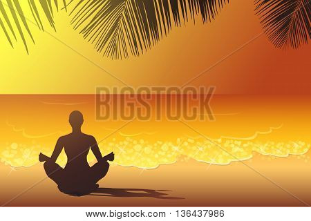 Woman is sitting in the yoga pose on the beach at the sunset vector illustration