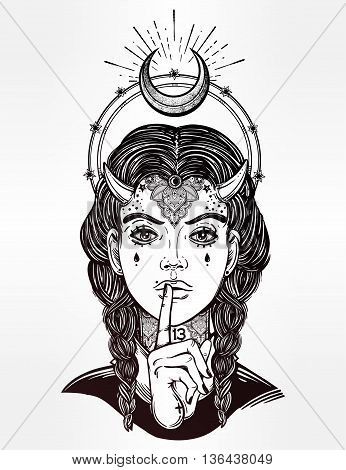 Hand drawn beautiful artwork of female demon portriat. Mystic diety. Alchemy, religion, spirituality, occultism, tattoo art, . Isolated vector illustration. Fantasy, coloring books, prints.