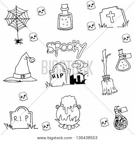Halloween tomb element in doodle vector illustration
