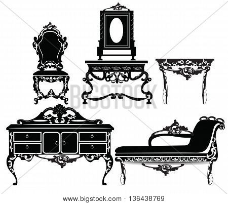 Vintage Baroque furniture set with luxurious ornaments. Vector