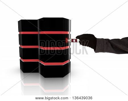 Hand of a hacker inserting a malicious usb stick into a server 3D illustration