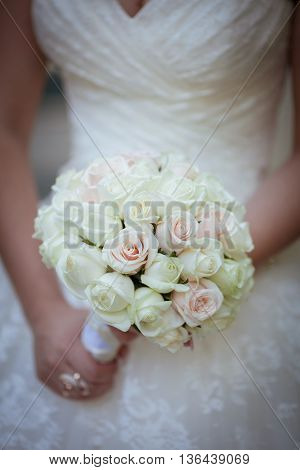the bride holding the wedding bouquet close up
