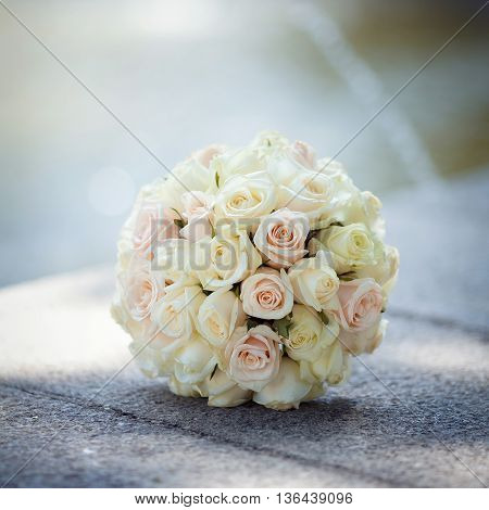Wedding bouquet of white rose close up