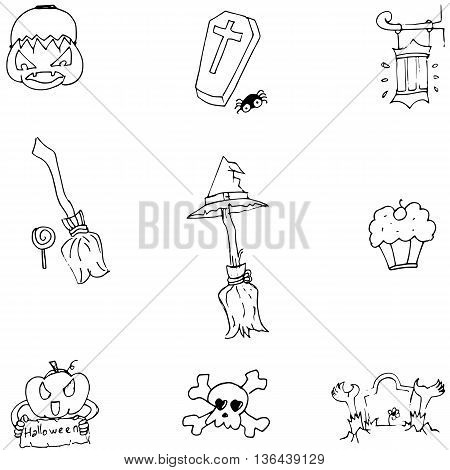 Object Halloween doodle set vector art illustration