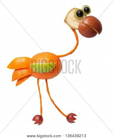 Funny flamingo made of orange on white background
