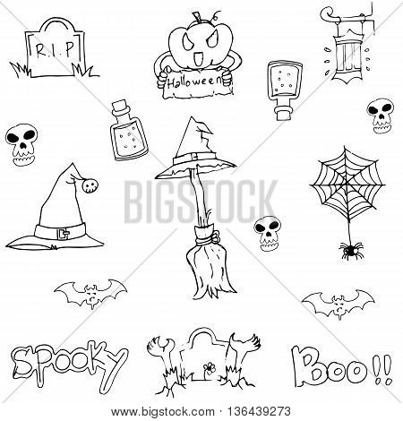 Doodle flat Halloween object on white backgrounds
