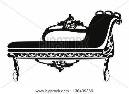 Vintage Baroque Classic bench with luxurious ornaments. Vector
