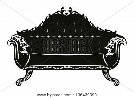 Vintage Baroque Sofa with luxurious ornaments. Elegant rich Baroque style furniture. Vector